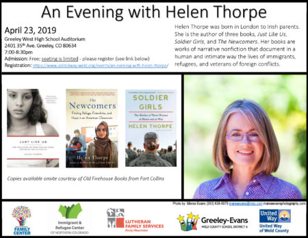 An Evening with Helen Thorpe - Greeley @ Greeley West High School Auditorium